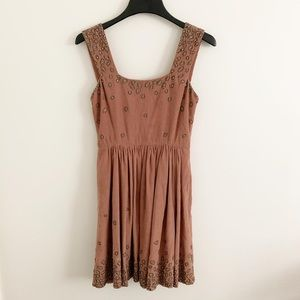 Suno tan corduroy embellished dress small